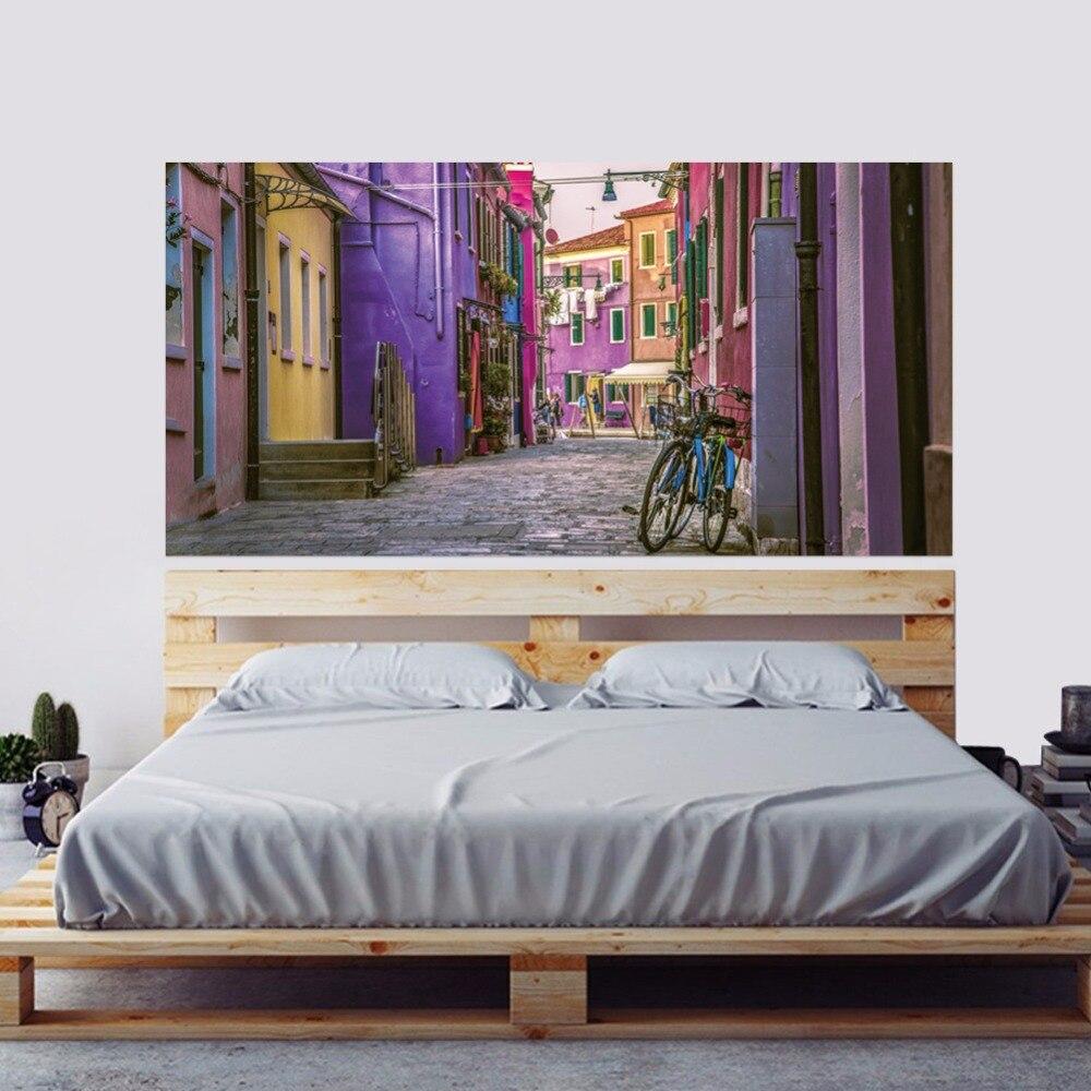 2pcs/set 3D DIY Colorful Fairytale Town Landscape Bedside Art Mural Stickers Home Decor Creative Alley Wall Sticker PVC Poster