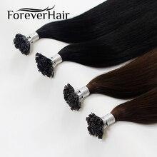 """FOREVER HAIR 1 г/локон 2"""" Remy плоский наконечник двойной нарисованный человеческих волос Расширение прямые капсулы кератин предварительно скрепленные волосы Расширение 100 г"""