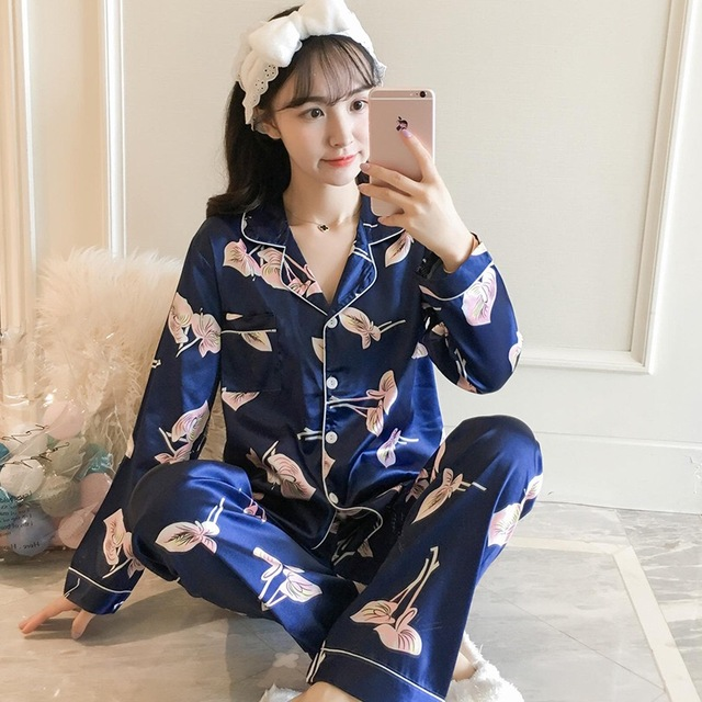 Autumn Women Long Silk Pajama Sets Satin Pyjamas Sexy Sleepwear Two Piece Set Female Homewear Silk Pyjamas Loungewear XXXXL