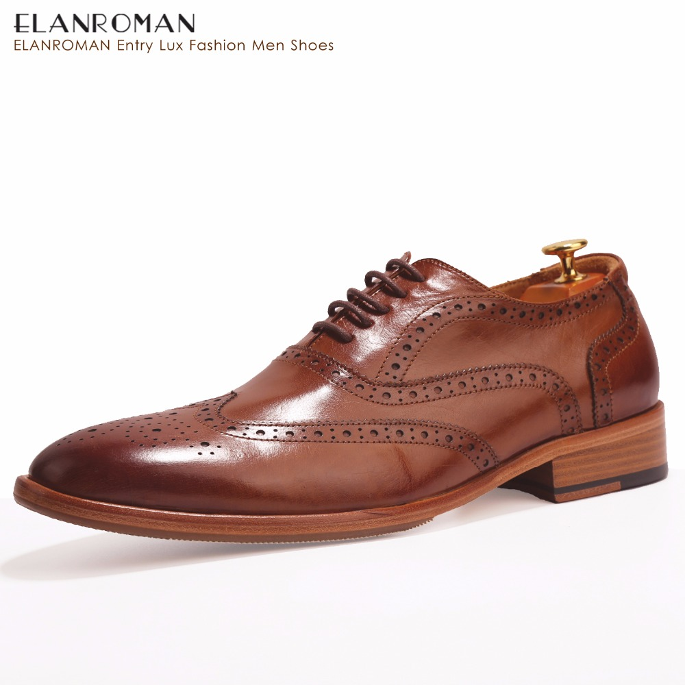 ELANROMAN Luxury brand Men Shoes Comfort Dress shoes Men Genuine Leather official shoes Oxford formal Shoes for wedding for men