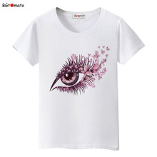 BGtomato Purple flower big eye t shirt women fashion Creative trend shirts Good quality brand cotton summer tops