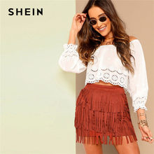 48731e92038 SHEIN Lace Laser Cut Bishop Sleeve Bardot Off Shoulder Solid White Crop  Blouse Summer Beach Casual Women Tops And Blouses