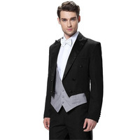 2017 New Black Slim Fit Men Wedding Suits Double Breasted Groom Tuxedos Formal Bridegroom Tailcoat Prom 3 Piece Suit Custom Made