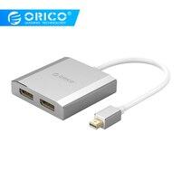 ORICO Mini DisplayPort to Dual DisplayPort Adapter Male To Female 4k HD Convertor 1.2 Version For Macbook pro Displayer TV