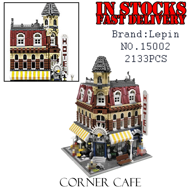 LEPIN 15002 Creator City Street Cafe Corner Model Building Blocks Bricks compatible 10182 Educational Toys for children Gifts lepin17001 city street tai mahal model building blocks kids brick toys children christmas gift compatible 10189 educational toys