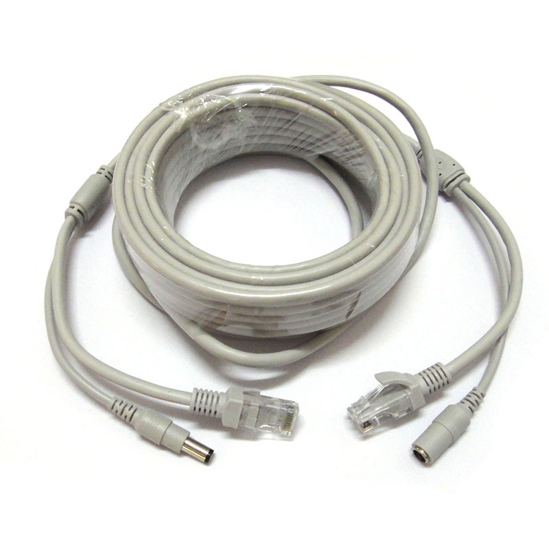 30M 100ft RJ45 Cable + DC 12V Power CAT5/CAT-5e CCTV Extension CCTV network Ethernet Cable For IP Camera NVR System 2015 new 10pcs lot dc power extension cable 5 meter 16 5ft to 5 5mmx2 1mm male plug for cctv camera 12 volt extension cord