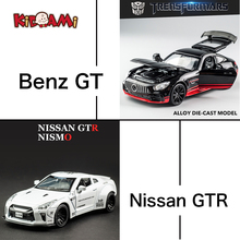 KIDAMI 1:32 Car Model Set Ben GT and Nissan GTR Alloy Diecast Pull Back Toy Car Suit For Children Surprise Gifts машинки 1 18 diecast model for nissan geniss livina red mpv alloy toy car miniature collection gifts