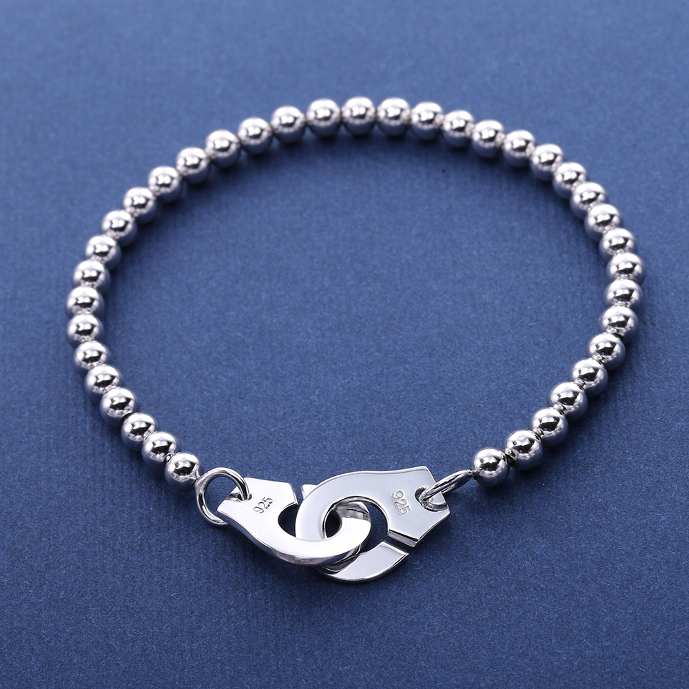 Moonmory France Popular 925 Sterling Silver Handcuff Bracelet For Women Many Silver Beads Chain Handcuff Bracelet Menottes in Strand Bracelets from Jewelry Accessories