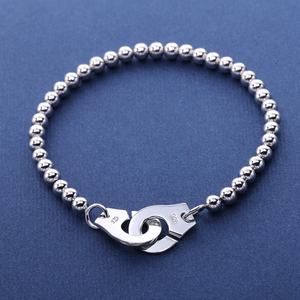 Image 2 - Moonmory France Popular 925 Sterling Silver Handcuff Bracelet For Women Many Silver Beads Chain Handcuff Bracelet Menottes
