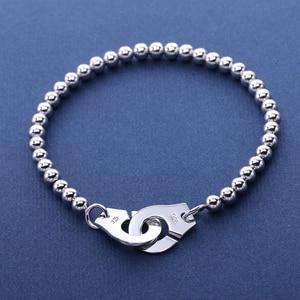 Image 2 - Moonmory Frankrijk Populaire 925 Sterling Zilveren Handboeien Armband Voor Vrouwen Vele Zilveren Kralen Chain Handboeien Armband Menottes