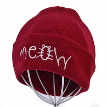 купить winter Unisex MEOW Cap Men Women Casual Hip Hop Hats Knitted Wool Skullies Beanies Hat Warm Winter Hat For Women Beanie дешево