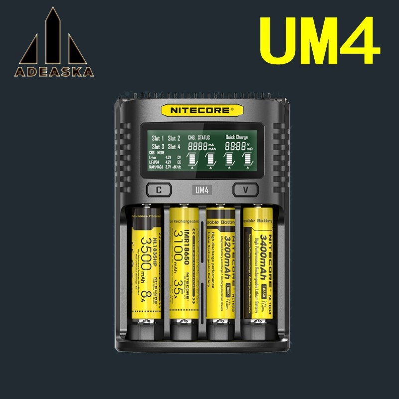 NITECOR UM4 C4 VC4 LCD Smart Battery Charger For Li-ion/IMR/INR/ICR/LiFePO4 18650 14500 26650 AA 3.7 1.2V 1.5V Batteries D4