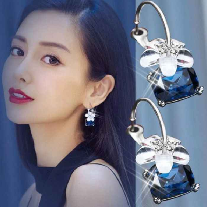 Hot Sale Trendy White Flower Gray Blue Red Black Square Crystal Pendant Unique Hoop Earrings for Women Jewelry Bijoux Brincos