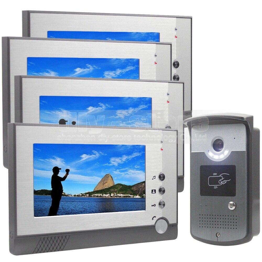 DIYSECUR 7 inch Color LCD Display Video Door Phone Enter Intercom Doorbell Card Key RFID Reader LED Night Vision Camera 1V4 free shipping 2 3 month 1000g comfortable 100