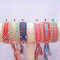 Позолоченный Металл Цепи Дружбы Браслет Ручной Тканые Веревка Строка Хлопка Браслеты Дружбы Для Женщин И Мужчин