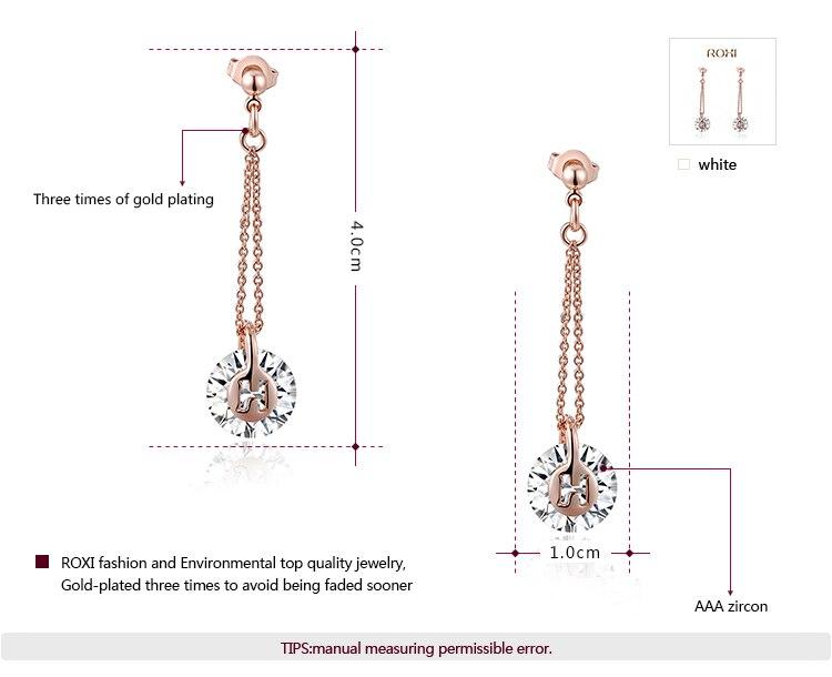 GS מותג להשתלשל כבר עגילי קריסטל זוהר אבן עגילים חתונות, מסיבה, מתנה רוז מצופה זהב עגילי תכשיטי אופנה