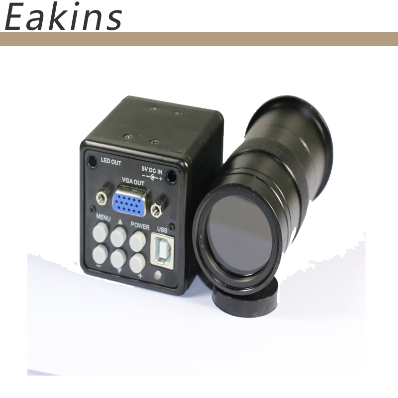 2 in 1 USB VGA outputs CCD CMOS Industrial microscope Camera+100X C-Mount lens for bga IC phone pcb usb vga outputs ccd cmos industry microscope camera 100x c mount lens 56 led ring light stand holder for bga ic phone pcb