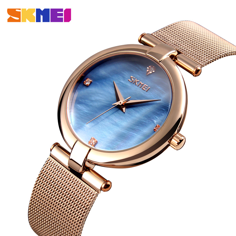 SKMEI Women's Luxury Elegant Quartz Watches Brand Stainless Steel Crystal Wristwatches Ladies Fashion Marble Watchs Montre Femme