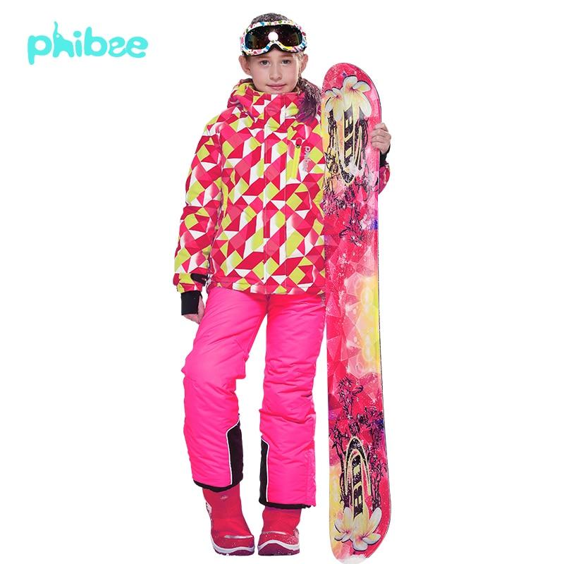 -30 degree Russian Winter Girls Ski Suit Windproof Waterproof Girls Ski Jacket+Bib Pants 2pcs Set Children Clothing 6-16Y