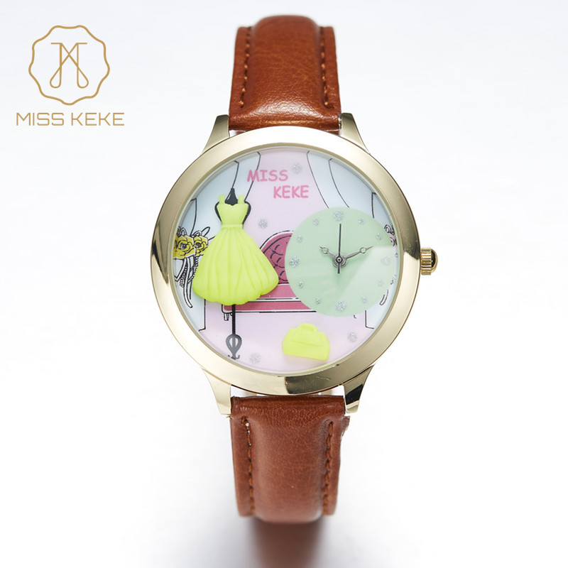 Orz Miss Keke 3d Clay Cute Yellow Party Dresses Watches Relogio Feminino Ladies Women Dresses Quartz Leather Wristwatches 016