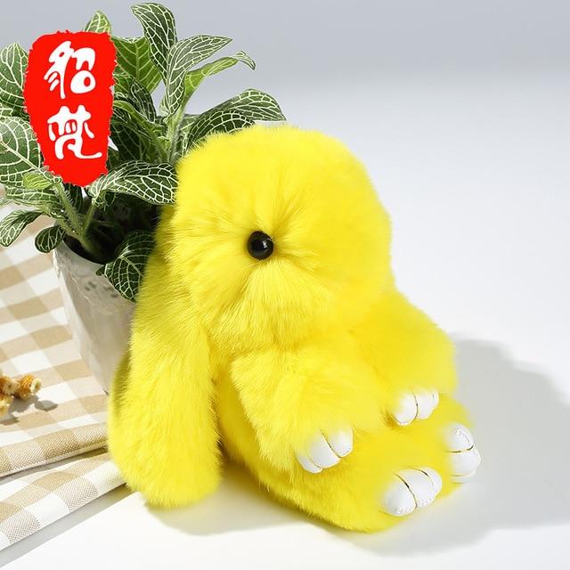 18cm 100% Real Genuine Rex rabbit Furs Keychain Pendant Bag Car Charm Tag Cute Mini Rabbit Toy Doll Fur Monster free shipping