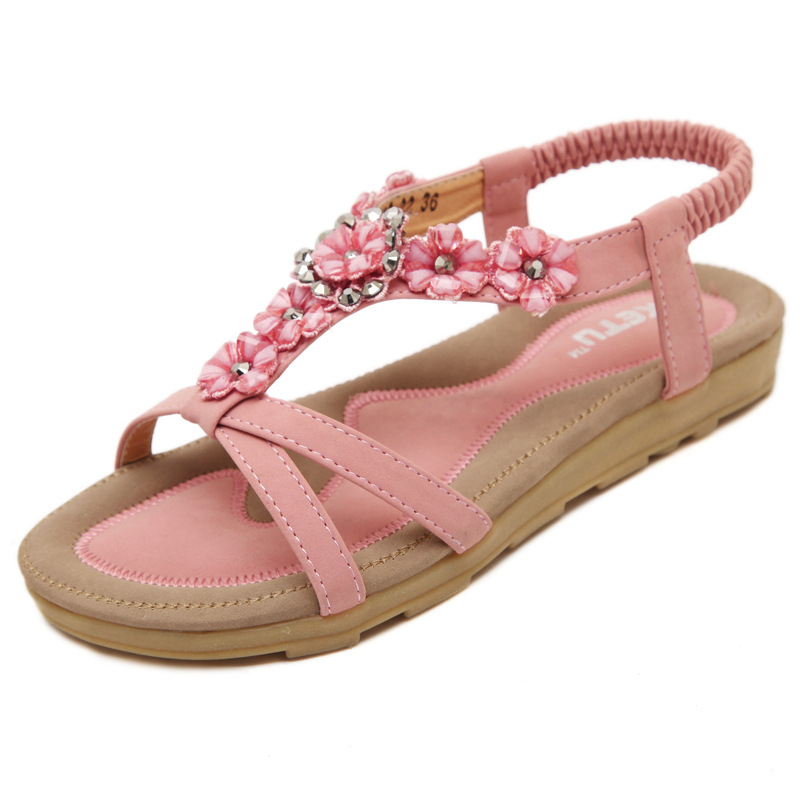 4576a17e878 crystal flower sandals women sweet pink floral flip flops 42 big size gladiator  sandals women comfortable summer shoes s128