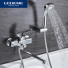 LEDEME Shower Faucets Fashion Style Brass Chrome Finished Thermostatic Faucet Bathroom Wall Mounted Bathtub Mixer Bath Set L2230