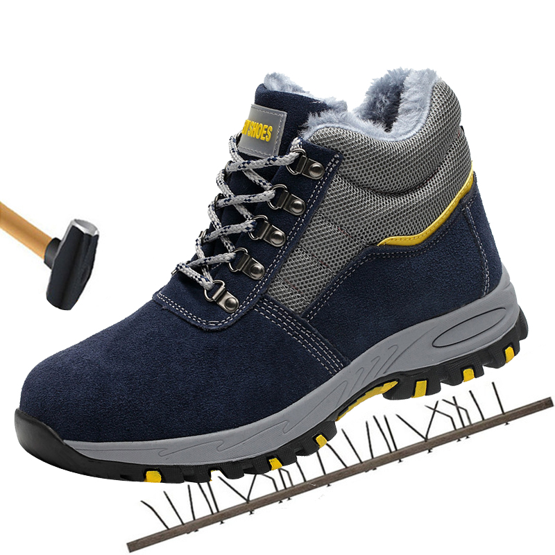 Men's Cowhide Upper Outdoor Steel Toe Cap Work Safety Boots Male High Tube Shoes Impact Resistant Puncture Proof Safety Shoes