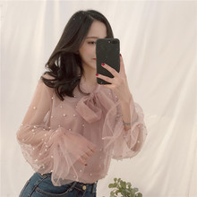 2018 spring summer women beaded chiffon blouse elegant lady fashion loose sexy see through fashion shirts tops 0.1(China)