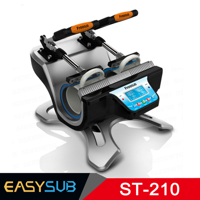 ST-210 doble estación prensa máquina sublimación prensa de calor para doble 11 oz tazas impresión a la vez