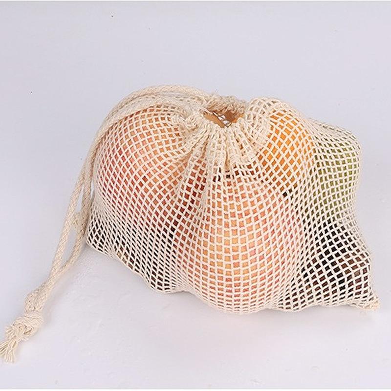 Bolsas de Malla ALGODÓN ecológica sostenible re-utilizable reutilizable varios tamaños color hueso