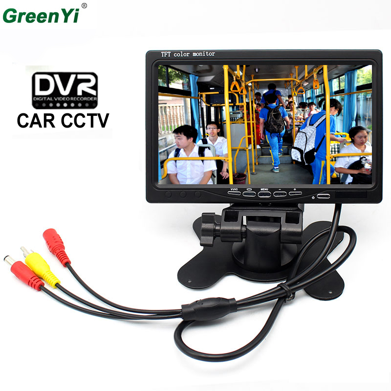 7 Inch 800x 480 TFT Color LCD AV Vehicle Car Rearview Monitor HDMI VGA AV With DVR Digital Video Recorder Support SD Card цена 2017