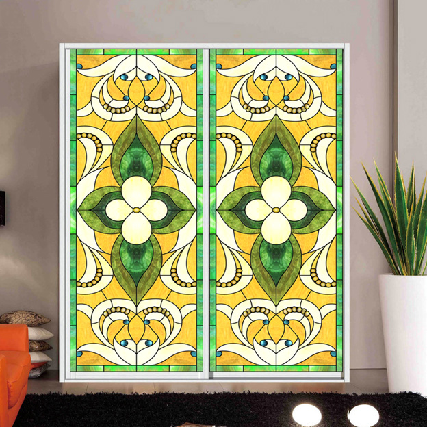 Church color frosted glass foil window bathroom sunscreen European <font><b>wardrobe</b></font> bathroom <font><b>sliding</b></font> door shading stickers