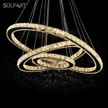 SOLFART LED Crystal Pendant Lights Lamp Lighting Fixtures With Cord Adjustable Dimming lustre abajur Chandelier