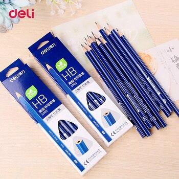 Deli 12 unids/lote lápices de plomo HB de madera, papelería, oficina y escuela, lápiz de madera para escribir y dibujar estudiantes