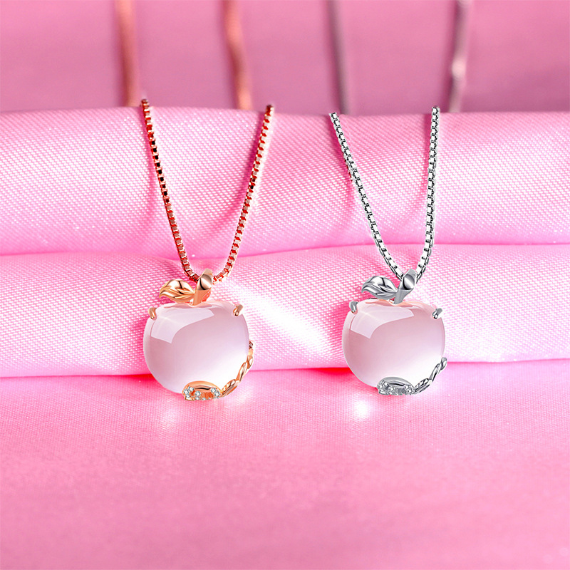 YWM Pink Apple Pendant 925 ստերլինգ արծաթե - Նուրբ զարդեր - Լուսանկար 5