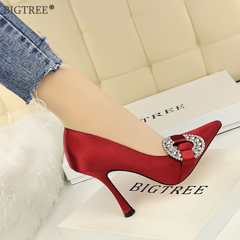BIGTREE high heels 2019 Women shoes Elegant ladies shoe Glass heels rounded crystal pointed toe party wedding shoe with heels