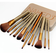 Metal box 12pcs/set NAKED3 Makeup Cosmetic Brushes Set professional Powder Foundation Eyeshadow Lip Brush Tool beauty essentials