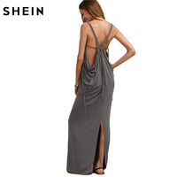 SheIn Womens Sexy Long Dresses Summer Ladies Plain Grey Sleeveless V Neck Backless Cut Out Split
