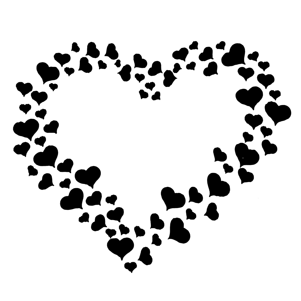 1pc Large Small Love Heart Shaped Reusable Stencil Airbrush
