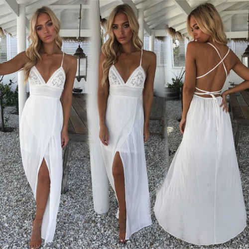 78c1e6a2f5f65 New Boho Women Long Dress White Slim Patchwork Floral Lace Backless ...