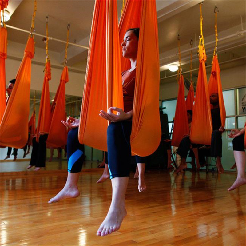 Medium image of 14 colors 5m aerial flying anti gravity yoga hammock swing yoga set body building fitness equipment freedrop include accessories in yoga belts from sports