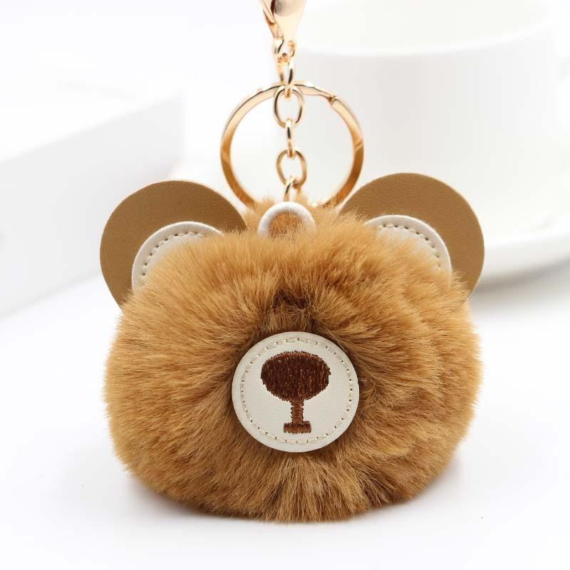 цена на Cute Fur Ball Bear Keychain Pom Pom Key Chain Handbag Purse Fluffy Key Ring Bag Car Key Holder Porte Clef Llaveros For Girls