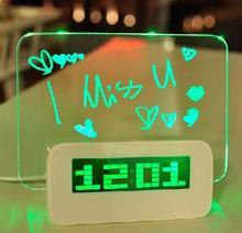 Computer Blue LED Luminous Message Board Digital Alarm Clock with 4-Port USB Hub Temperature Calendar