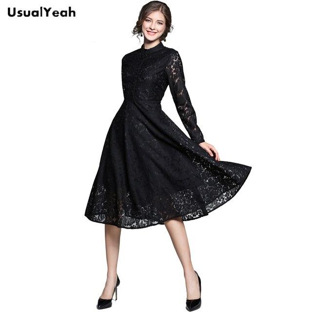 b6835f8f015 USUALYEAH New 2018 Women Elegant Fashion Lace Dress Long Sleeve Dresses  vestido de festa Party Dress Black Blue QZ0370