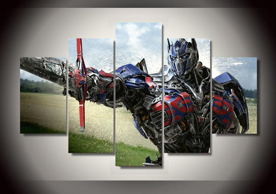 HD Printed Optimus Prime Transformers 5 piece Painting wall art room decor  print poster picture canvas. Transformers Room Decor