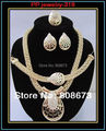 Free Shipping Good Qaulity Gold Plated Diamante African Big Jewelry Set