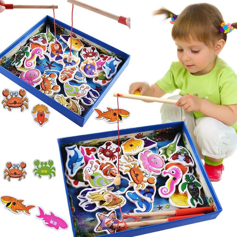 32 шт деревянные рыболовные игрушки Магнитные детские Морские биологические Congnition развивающие
