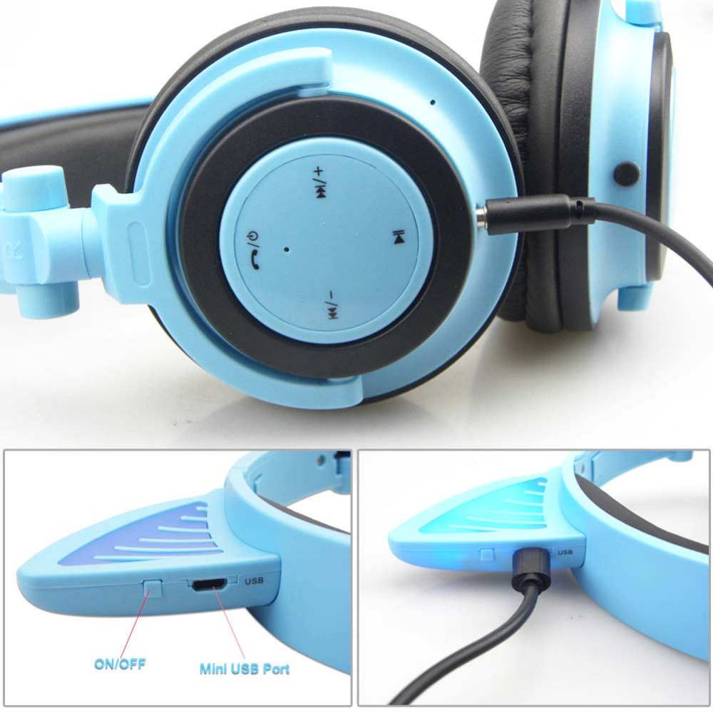 Lovely Headphones, Bluetooth Headset with LED Flash Wireless / Wired ...
