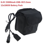 USB + DC 5.5mm Bağlantı Noktası 2 in 1 25000 mAh 8.4 V 12X18650 Şarj Edilebilir li-ion pil Paketi cree led bisiklet Bisiklet kafa lambası ışığı